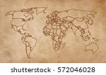 world map on an old piece of... | Shutterstock . vector #572046028