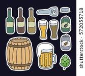 doodle icons  stickers. beer... | Shutterstock .eps vector #572055718