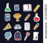 doodle icon set  stickers.... | Shutterstock .eps vector #572055853