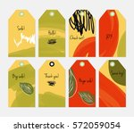 seasonal with sketched leaf... | Shutterstock .eps vector #572059054