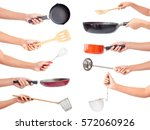 chef's hands holding kitchen... | Shutterstock . vector #572060926