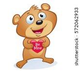 cute valentine's day bear | Shutterstock .eps vector #572062933