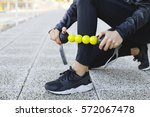 personal trainer doing a... | Shutterstock . vector #572067478
