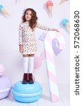 cute little baby girl fashion... | Shutterstock . vector #572068630