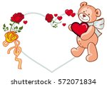 heart shaped frame with roses... | Shutterstock .eps vector #572071834