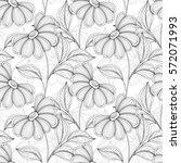 seamless monochrome floral... | Shutterstock . vector #572071993