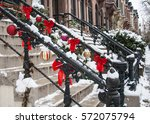 christmas decorations on a... | Shutterstock . vector #572075794