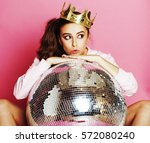 young cute disco girl on pink... | Shutterstock . vector #572080240