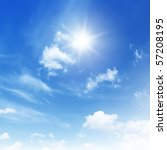 blue sky with clouds and sun. | Shutterstock . vector #57208195