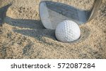 golf ball in sand trap with... | Shutterstock . vector #572087284