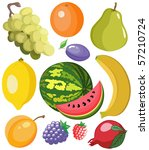 Set of beautiful juicy and color fruits - stock vector