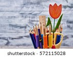 decorative tulip and stationery.... | Shutterstock . vector #572115028