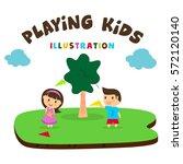 kids playing illustration ... | Shutterstock .eps vector #572120140