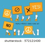 people protest hands set with... | Shutterstock .eps vector #572121430
