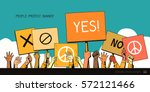 people protest hands with... | Shutterstock .eps vector #572121466