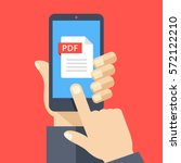 pdf file on smartphone screen.... | Shutterstock .eps vector #572122210