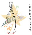 treble clef with autumnal theme   Shutterstock .eps vector #57212722