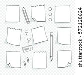 set of hand drawn  note papers... | Shutterstock .eps vector #572128624