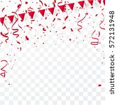 confetti and red ribbons ... | Shutterstock .eps vector #572131948