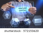 Small photo of Business, Technology, Internet and network concept. Young businessman showing a word in a virtual tablet of the future: Venture capital