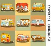 camping bus or camper van... | Shutterstock .eps vector #572153638