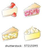 pie slices   cheesecake  cherry ...   Shutterstock . vector #57215395