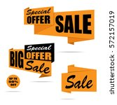 set of sale banners. yellow... | Shutterstock .eps vector #572157019