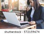 business woman working outside... | Shutterstock . vector #572159674