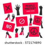 Protest  People Hands With...
