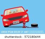 roadside assistance changing... | Shutterstock .eps vector #572180644