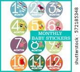 monthly baby stickers seasons... | Shutterstock .eps vector #572185348
