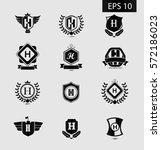 initial letter h black logo... | Shutterstock .eps vector #572186023
