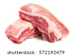 two pieces of pork isolated on... | Shutterstock . vector #572192479