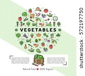 vegetables card concept organic ... | Shutterstock .eps vector #572197750