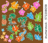 hibiscus flower illustration   Shutterstock .eps vector #572208058