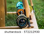 fishing rods with reels for fly ... | Shutterstock . vector #572212930