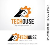 tech house logo template design ... | Shutterstock .eps vector #572215414