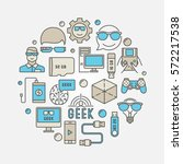 round geek illustration  ... | Shutterstock .eps vector #572217538
