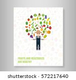 book heart vegetables fruits ... | Shutterstock .eps vector #572217640