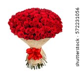 flower bouquet of 100 red roses | Shutterstock . vector #572231056