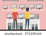 electronics shop inside with... | Shutterstock .eps vector #572239144