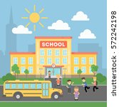 school with children and yellow ... | Shutterstock .eps vector #572242198