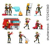 firefighting colorful icons set ... | Shutterstock .eps vector #572242360