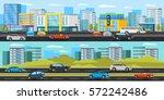 urban traffic horizontal... | Shutterstock .eps vector #572242486