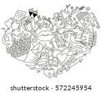 happy valentines day hand... | Shutterstock .eps vector #572245954