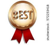the best gold badge with red... | Shutterstock .eps vector #572253418