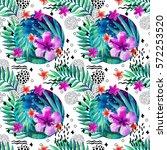 abstract tropical summer...   Shutterstock . vector #572253520