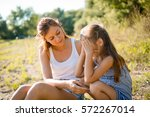 young disappointed girl kid... | Shutterstock . vector #572267014
