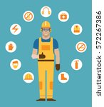 construction working surrounded ... | Shutterstock .eps vector #572267386