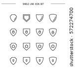 shield flat icon set.... | Shutterstock .eps vector #572274700